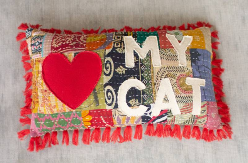 :  Add color and style to your home with our handcrafted to perfection, Love My Cat Patchwork Word Lumbar Pillow