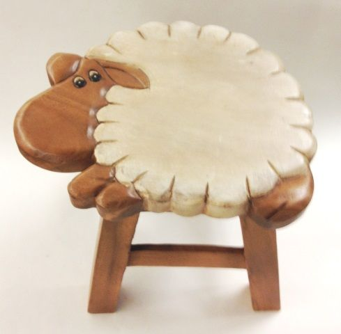 Lucy the Lamb Hand Carved and Hand Painted Wood Footstool for Children