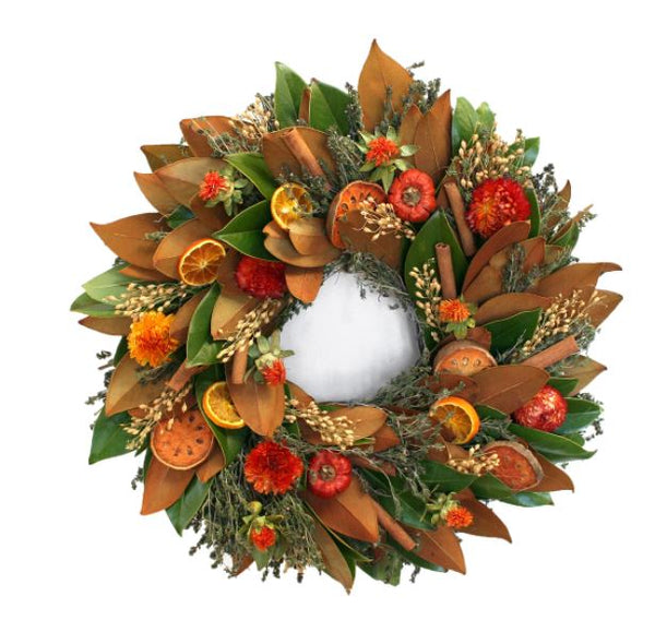 "Add color and beauty to your home or door with our Magnolia and Quince Fall Wreath – 20"" which is handmade in the USA"