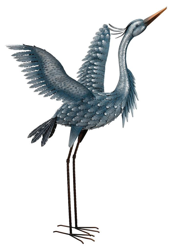 "Our stately Majestic Blue Heron Metallic Finished Metal Garden Statuary is 47"" tall and has extended wings that make it look real and breathtaking for your garden, pond or patio."
