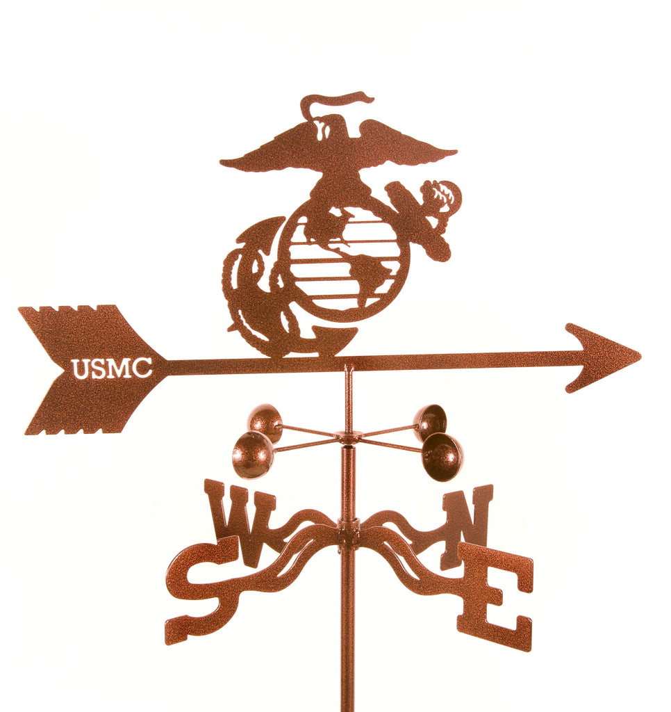 combine function and yard art with our United States Marines Military Rain Gauge Garden Stake Weathervane