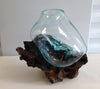 "Medium Hand Blown Molten Glass and Wood Root Sculptured Terrarium / Vase / Fish Bowl (8x9"")"