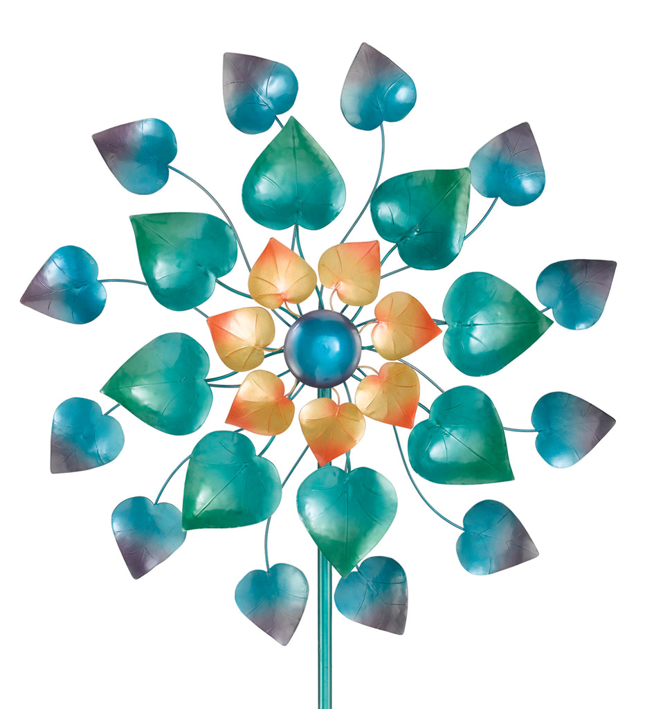 This is the top section of our Mesmerizing Metal Leaves Kinetic Garden Stake Wind Spinner features two spinning blades designed to resemble a flower with blades spin in opposing directions at the same time. It is a great piece to add fun, color and movement to your garden.