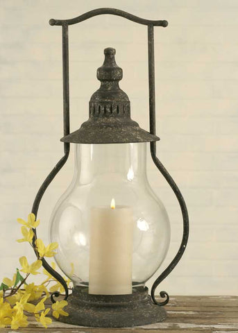 Country Rustic Metal and Glass Candle Lantern