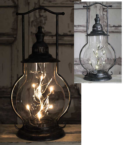 Our Glass Country Metal and Rustic Lantern With LED Lights will glow beautifully day or night