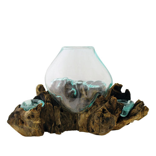 Hand Blown Molten Glass and Wood Root Sculptured Terrarium / Vase / Fish Bowl with Double Candle Holders