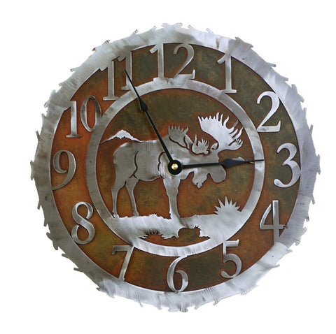 Moose Handcrafted Metal Wall Clock - 12 inch