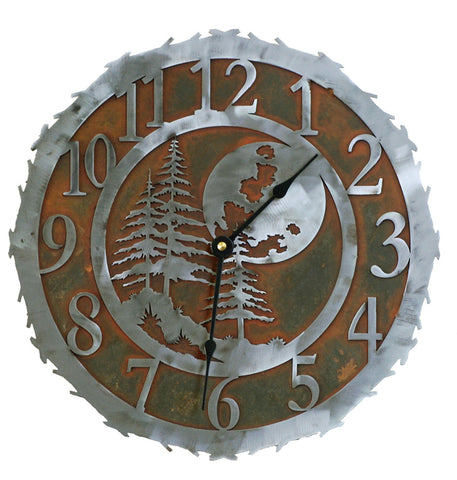 Mountain Moon Handcrafted Metal Wall Clock - 12 inch - inthegardenandmore.com
