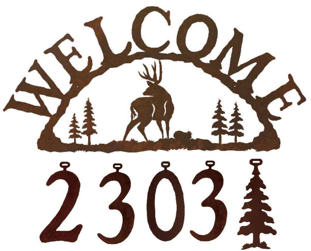 Our Mule Deer Handcrafted Metal Welcome Address Sign is great for your cabin or home and you can customize it with hanging numbers and symbols of your choice