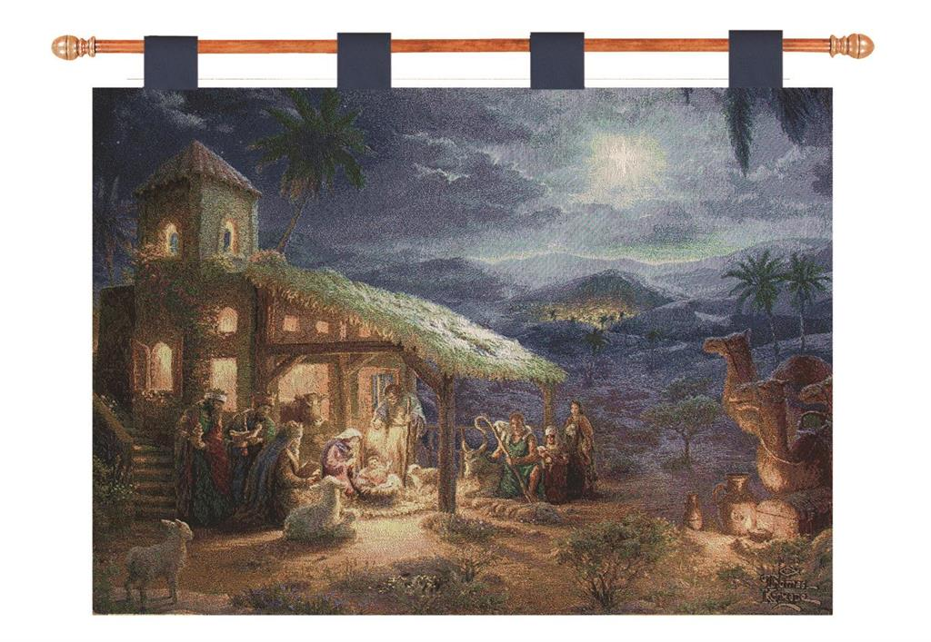 Our Nativity Inspirational Wall Hanging Tapestry comes with a wooden hanging rod so you can hang your wall décor piece up immediately for all to see.
