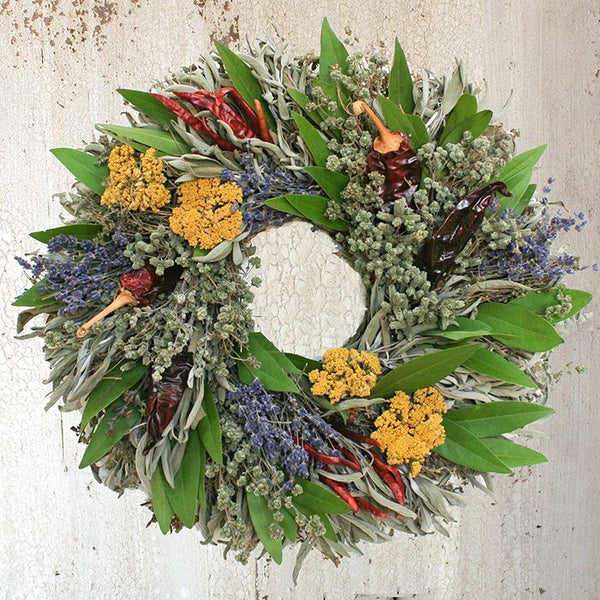 Handcrafted, our Chili Herb Natural Dried and Preserved Wreath - 16