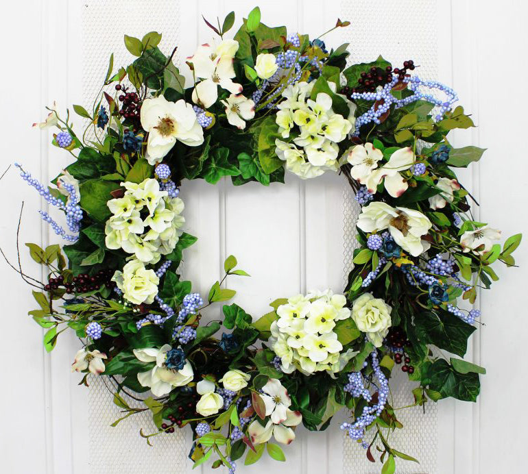 Welcome guests into your home with our Natural Hydrangea Elegant Front Door Wreath - 23 inch