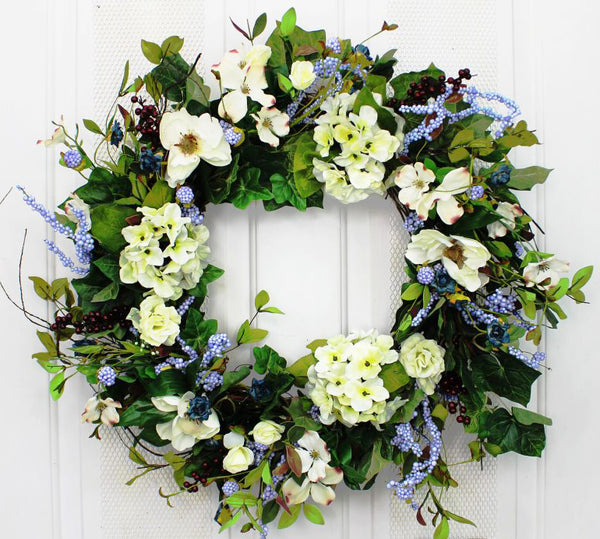 Welcome guests into your home with our Natural Hydrangea and Dogwood Elegant Front Door Wreath - 23 inch