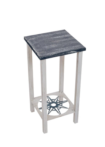 Great as an end table, lamp table or entertaining table, our Navy Blue and White Square Iron and Wood Accent Table with Nautical Compass Accent will look great in your home or covered patio.