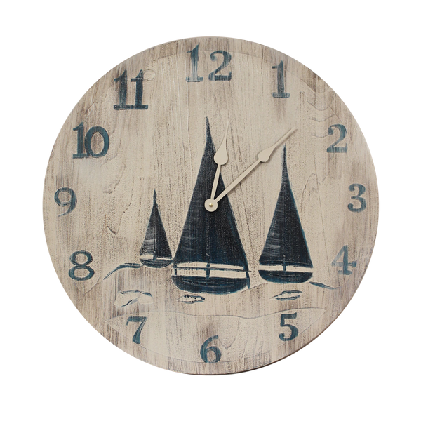 Our Navy Blue and White  Wood Clock with Etched Sailboat Scene (24