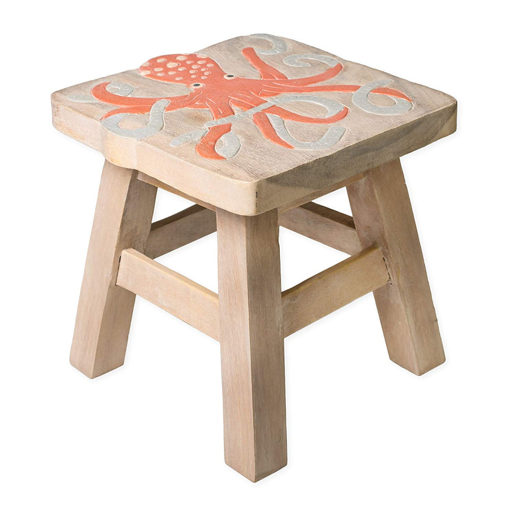 Octopus Handcrafted Wood Stool Footstool