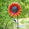 Our Orange Velvet Sunflower Metal Bird Feeder Garden Statuary makes a statement year round and birds even find the leaves a resting place during the day.