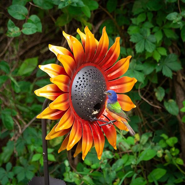 Our Orange Velvet Sunflower Metal Bird Feeder Garden Statuary makes a statement year round