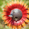 Our Orange Velvet Sunflower Metal Bird Feeder Garden Statuary makes a statement year round and gives birds a place to hang out (literally)