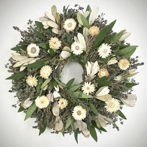 "This beatiful Pearly White and Lavender Preserved Wreath – 16"" will be handmade in the USA"