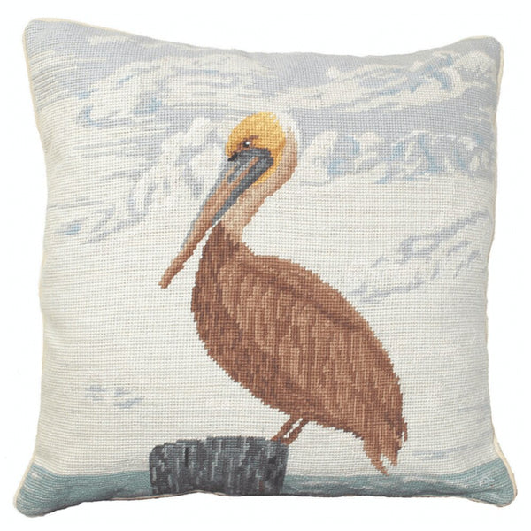"Our Pelican Handcrafted Needlepoint Throw Pillow is 18"" square and comes with your choice of polyester filling or, for an upcharge, you can have your pillow stuffed with down (duck) feathers."