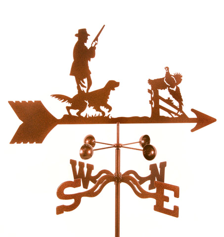 Our Pheasant Hunter and His Dog Rain Gauge Garden Stake Weathervane is made in the USA of quality materials and workmanship and will add decoration to your garden and collect water at the same tie.