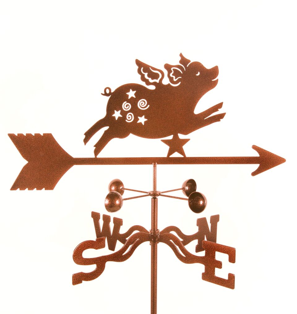 Combine function and yard art with our Flying Pig Whimsical Rain Gauge Garden Stake Weathervane