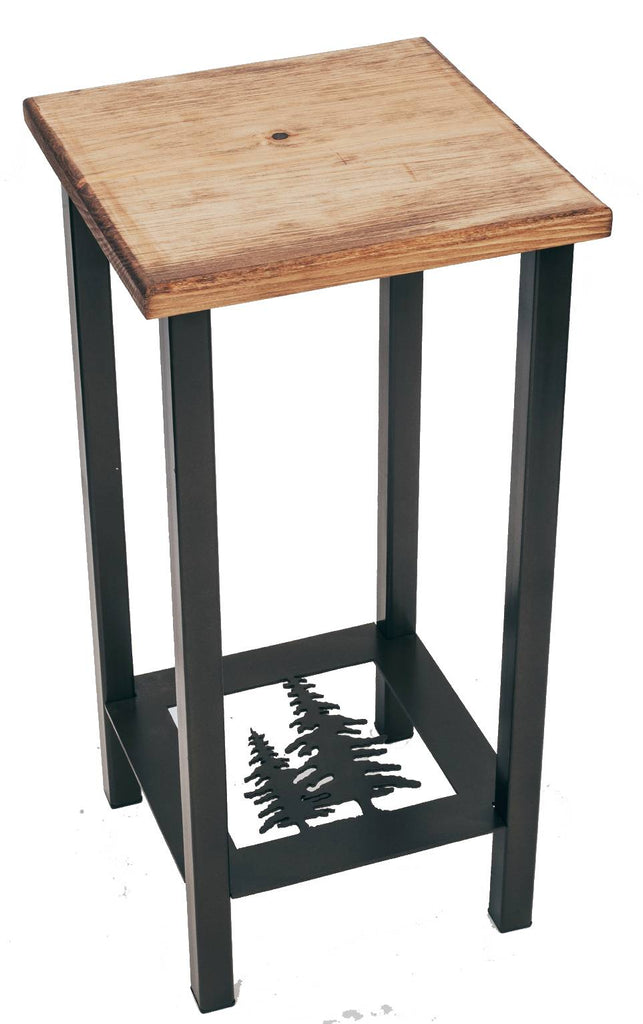 "Our Pine Tree Metal and Wood Side Table is custom made and is 11"" square x 23"" tall and great for any room in your rustic décor style home."
