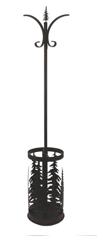Pine Tree Rustic Lodge Décor Metal Umbrella Stand and Coat Rack