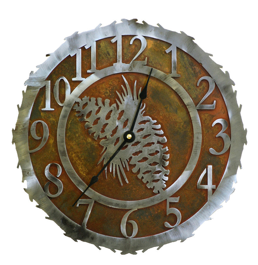 Our Pine Cone Handcrafted Rustic Metal Wall Clock - 12