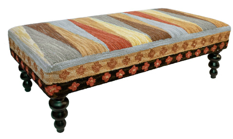 "Our Pinwheel of Stripes Handcrafted Hooked Wool Bench features vibrant colors and is 47"" in length x 24"" deep x 16"" tall"