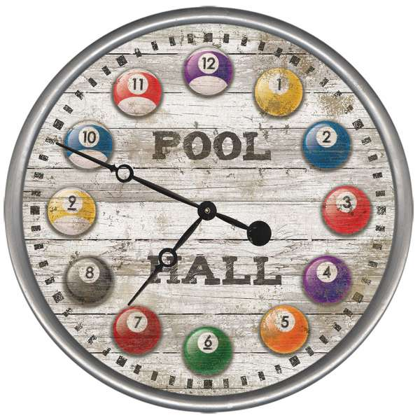 Pool Hall Billiard Ball Wood and Metal Wall Clock -made in the USA, it will add color and style to your game room décor