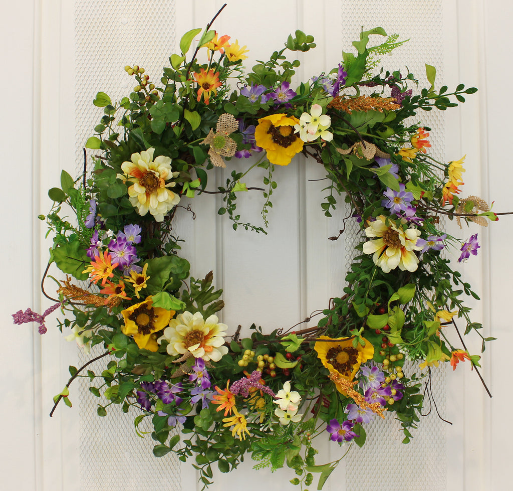"Our Pops of Poppies Silk Front Door Wreath – 22"" is colorful and wispy and fun"