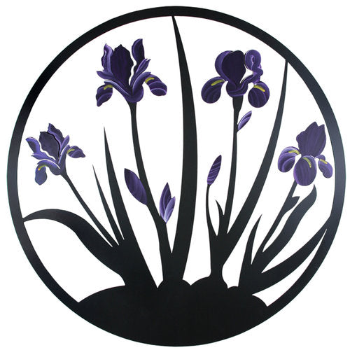 Our Purple Iris Blooms Metal Indoor Outdoor Wall Art is available in four (4) colorful blooming iris colors, purple, yellow, teal or blue and white and each has been uniquely crafted in the USA by skilled artisans and custom made to order. Every piece created is powder coated for outdoor or indoor use and it captures the artist's creative beauty of this magnificent flower wall hanging