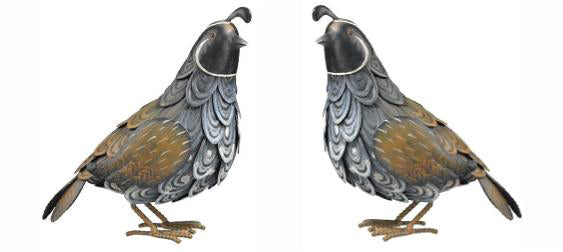 These beautiful Quail Handcrafted Metal Garden Statuary (set of 2) are realistic looking and will look lovely in your garden