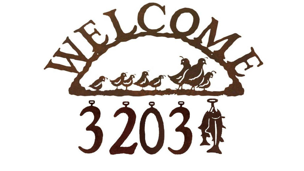 Our Quail Handcrafted Metal Welcome Address Sign is a great addition for your cabin or home and you can customize it with hanging numbers and symbols of your choice