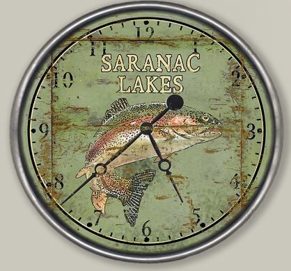 Rainbow Trout Distressed Wall Clock (customizable)