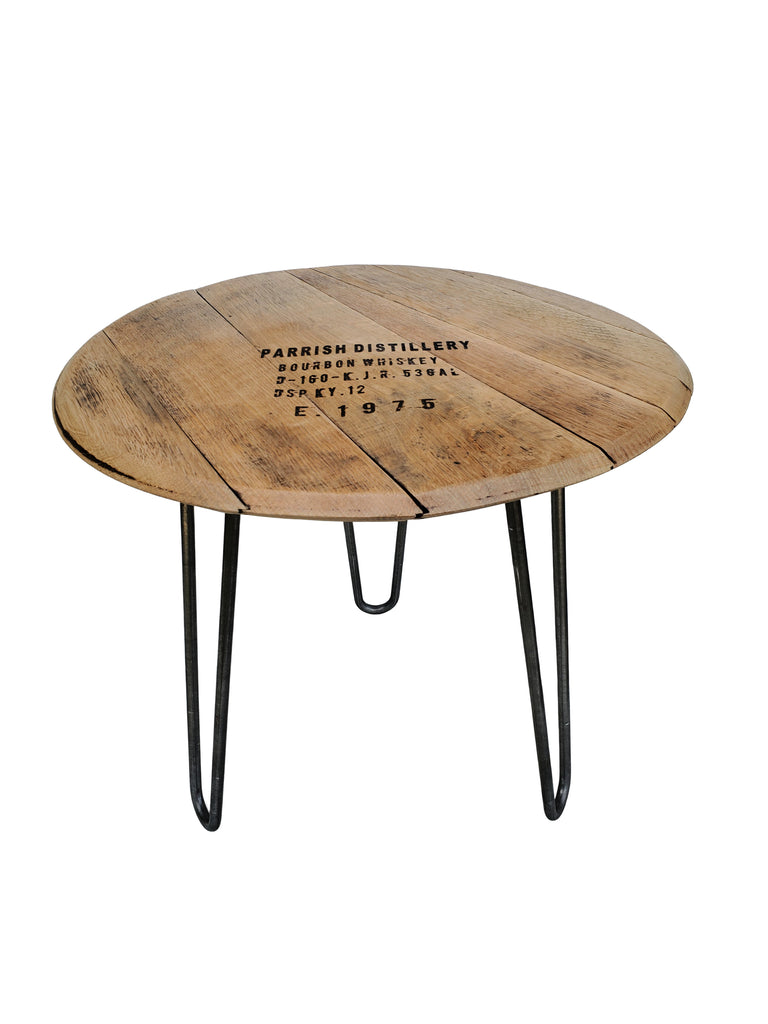 This unique Reclaimed Bourbon Barrel Head Accent Table with Original Winemakers Stamping will make quite a conversation piece