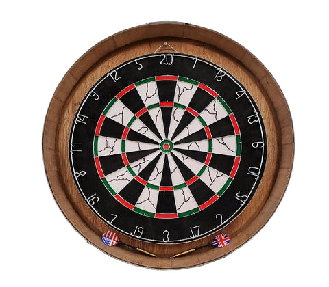 Our Reclaimed Wine Barrel Head Wood Dartboard Set will add fun and function as well as a unique wall decoration to any room in your home