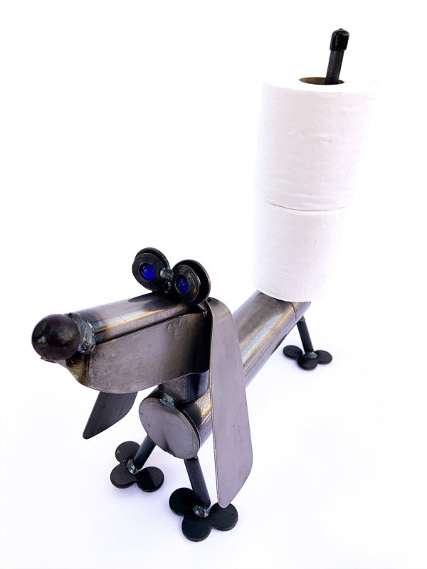 Our Recycled Scrap Metal Dachshund Dog Toilet Paper Holder / Paper Towel Holder is handcrafted and made to order and such a fun piece to have in your home