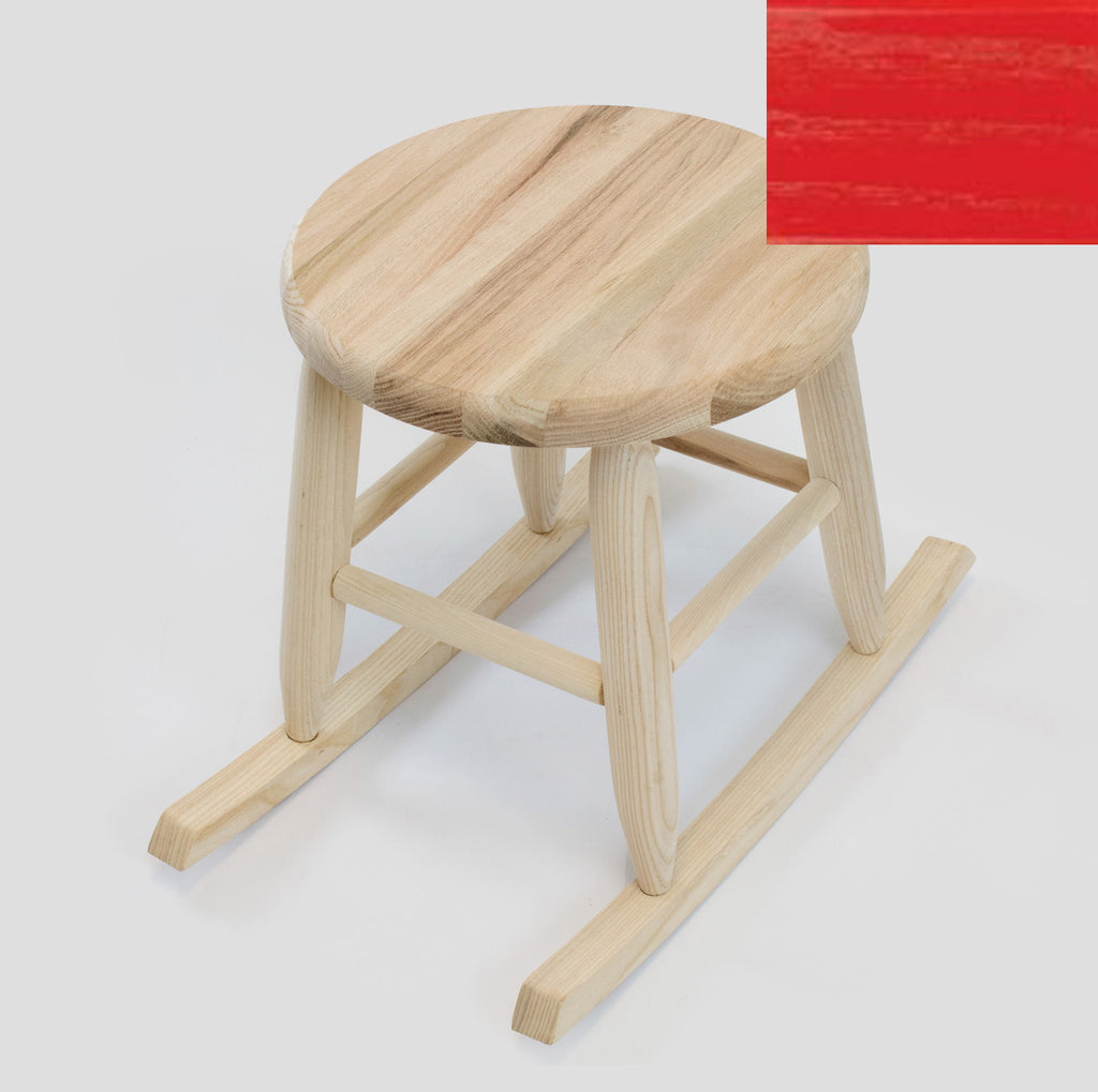 Our color sample of red for our Handcrafted Wood Rocking Garden Stool