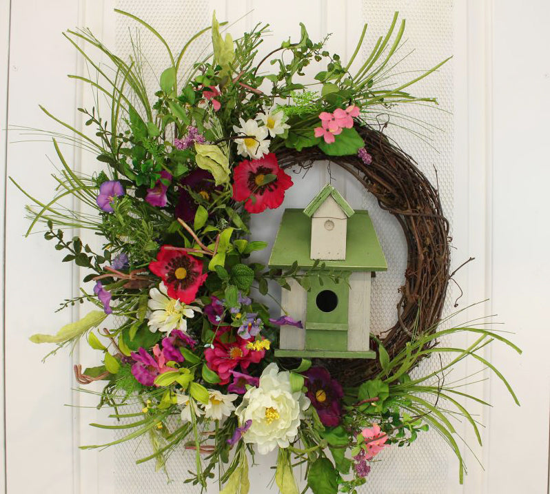 Our Red Poppies and Birdhouse Wispy Grapevine and Silk Front Door Wreath is unique and beautiful and a lovely presentation for your front door