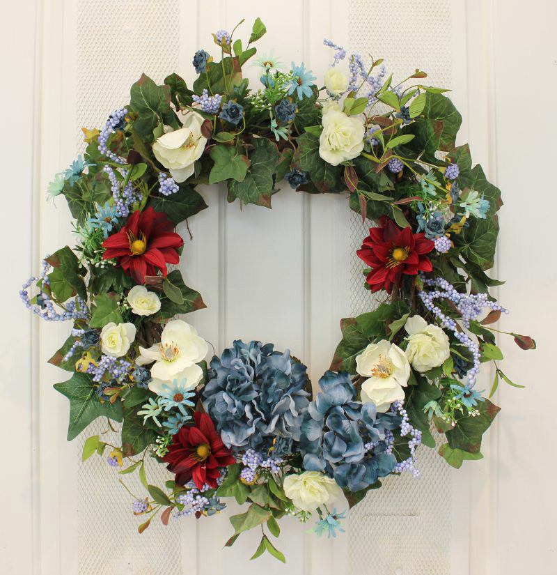 Red, White and Hydrangea Blue Silk Front Door Wreath – 22""