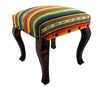 "Red River Rock Serape Striped Upholstered Fabric Square Stool Bench (18"")"