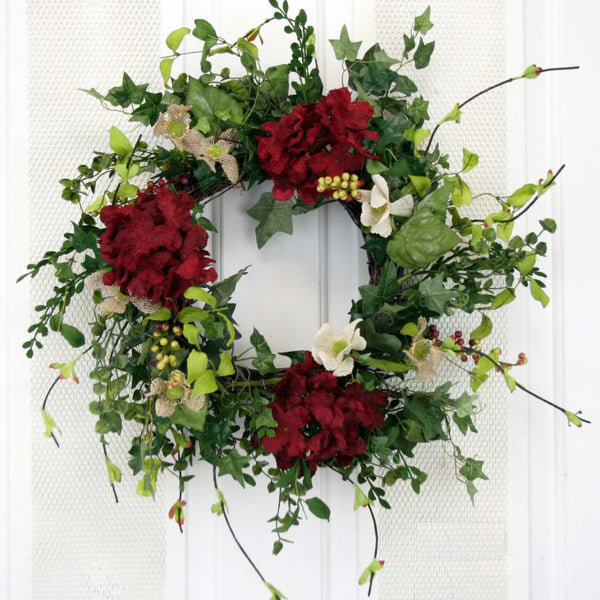 Welcome guests into your home with our Romantic Red Elegant Front Door Wreath - 19""