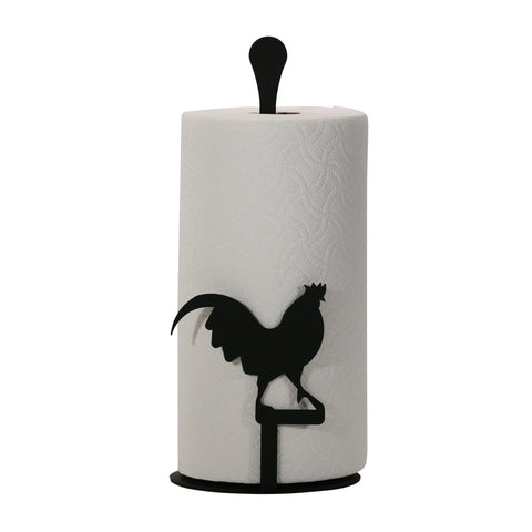 "This Rooster Wrought Iron Paper Towel Holder Stand features powder coating for indoor and outdoor with quality USA made craftmanship. Show off your love for rooster décor in your kitchen or dining room or outdoors. Size is 14"" tall x 6"" wide x 6"" deep. Rooster silhouette is 4-3/4"" wide x 4"" tall."