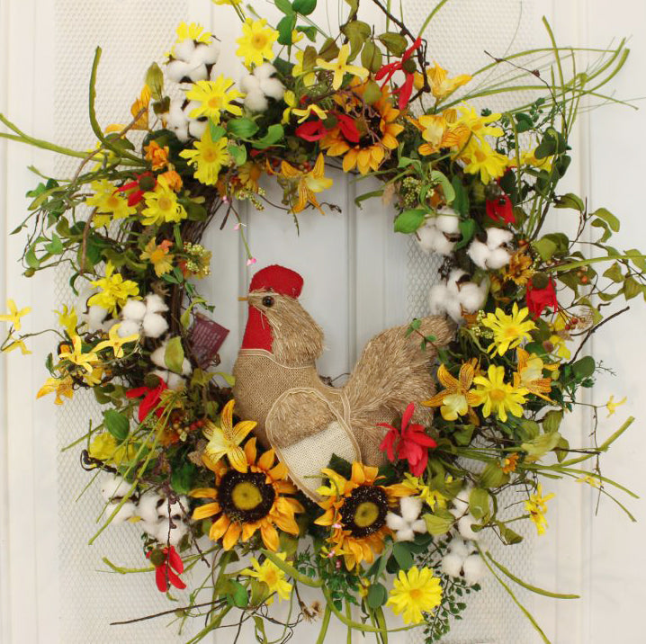 Our Roostering in the Sunflowers Silk Front Door Wreath is 22