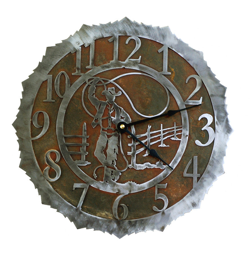 Our Roping Cowboy Handcrafted Rustic Metal Wall Clock - 12