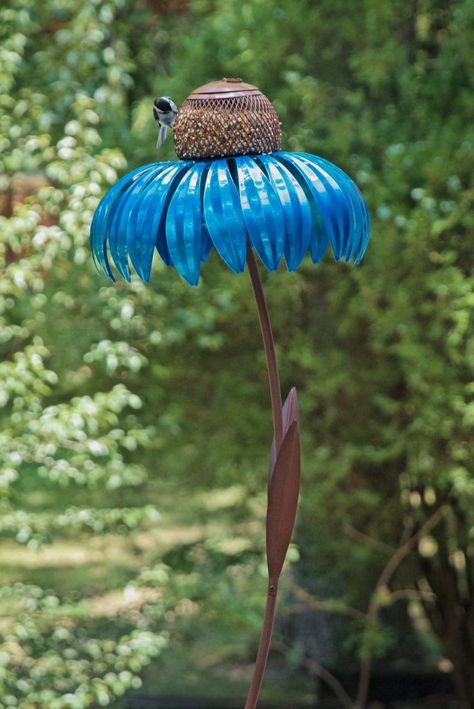 Royal Blue Metal Coneflower Bird Feeder Garden Statuary