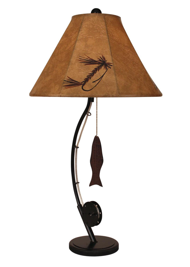 Our Rustic Fishing Pole Metal Table Lamp is a fun and expressive piece for rustic cabin or home and is a matching accessory for our Rustic Fishing Pole Metal Accent Table